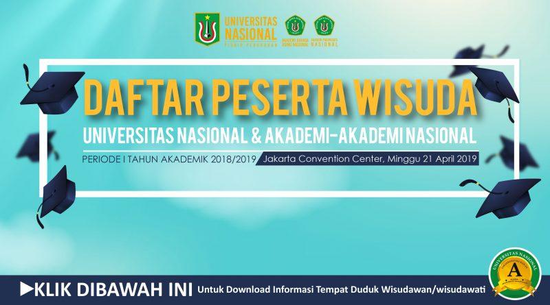 Informasi Tempat Duduk Wisudawan/Wisudawati Periode I T.A. 2018/2019