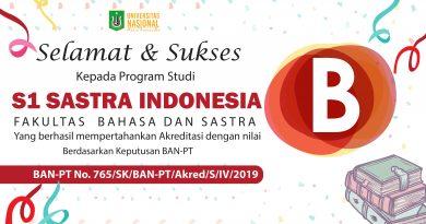 """S1 Sastra Indonesia (Fakultas Bahasa & Sastra) berhasil mempertahankan Akreditasi dengan Nilai """"B"""""""