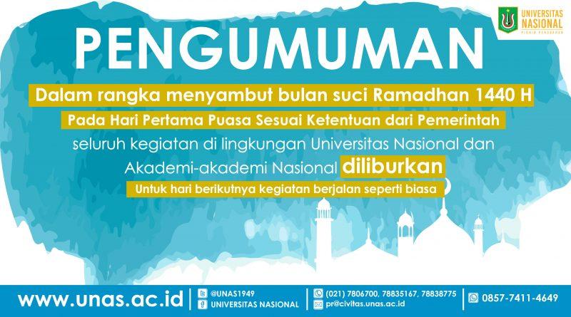 Pengumuman Libur Hari Pertama Puasa Bulan Ramadhan 1440 H / 2019 M