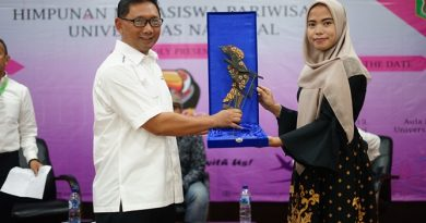 Ketua Program Studi Pariwisata Rizki Nurul Nugraha, S.S.T.Par., M.Par (kanan) menyerahkan cinderamata kepada Pembantu ketua IV (Bidang Kerjasama dan Penjaminan Mutu) Sekolah Tinggi Pariwisata Bandung Dr. Haryadi Darmawan, MM. (kiri)pada acara Dialog Pariwisata di Aula blok 1 lantai 4 Universitas Nasional, Selasa (25/6)