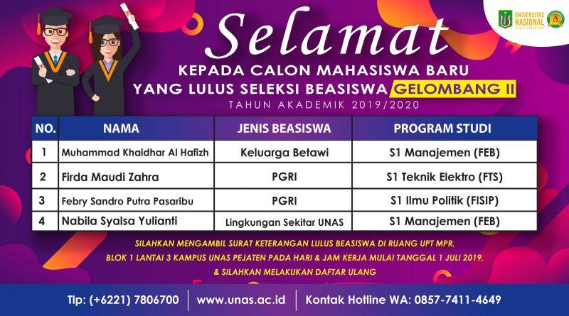 CALON MAHASISWA BARU YANG LULUS SELEKSI GELOMBANG II (SEMESTER GANJIL 2019/2020)