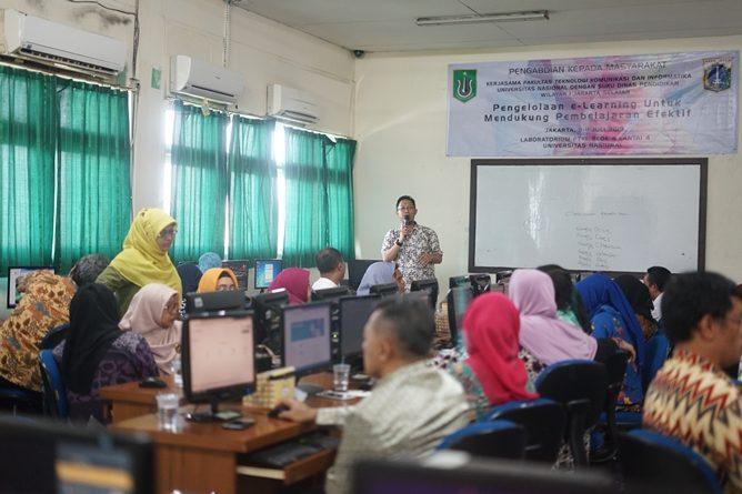 Pelatihan Pengelolaan E-Learning untuk mendukung pembelajaran efektif pada Selasa-Kamis (9-11/7), Di Laboratorium FTKI Blok 4 lantai 4 Universitas Nasional (UNAS).