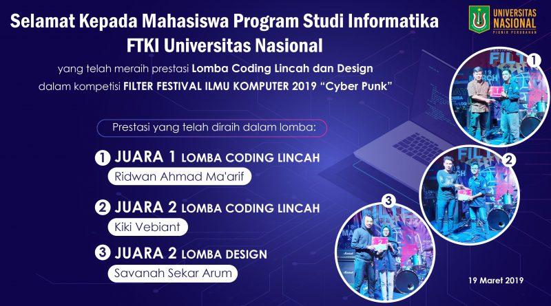 Mahasiswa UNAS FTKI Program Studi Informatika Raih Juara dalam Kompetisi Filter Festival Ilmu Komputer 2019