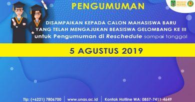 Reschedule Pengumuman Beasiswa Calon Mahasiswa Baru UNAS Gelombang III