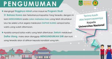 Pengumuman Program Studi S1 Bahasa Korea