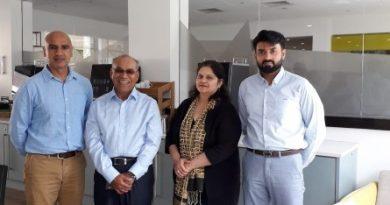 Rektor Universitas Nasional Dr. El Amry B Putera (dua dari kiri) melakukan pertemuan dengan Dr Punita Bhatt selaku Senior Research Fellow, Aston University(tengah),