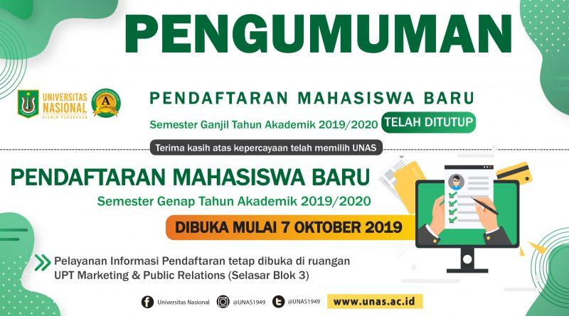 Pendaftaran Mahasiswa Baru Semester Genap Tahun Akademik 2019/2020 DIBUKA MULAI 7 OKTOBER 2019