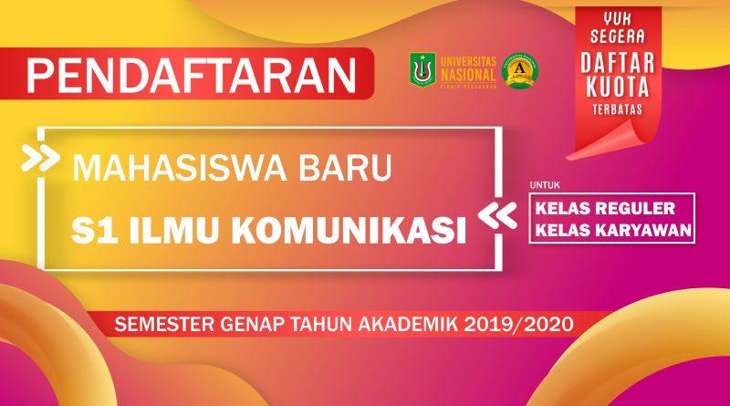 Pengumuman Kuota Mahasiswa Baru Prodi Ilmu Komunikasi Semester Genap T.A. 2019/2020