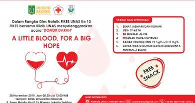 Donor Darah dalam rangka Dies Natalis FIKES UNAS Ke 13