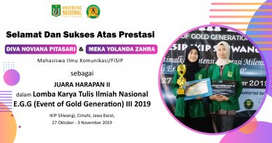 Prestasi Mahasiswa Ilmu Komunikasi/FISIP dalam Lomba Karya Tulis Ilmiah Nasional E.G.G (Event of Gold Generation) III 2019