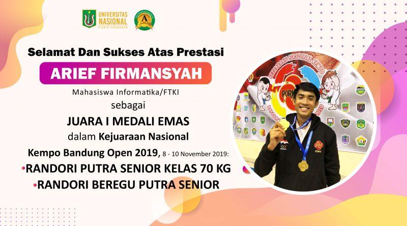 Prestasi Arief Firmansyah (Mahasiswa Informatika/FTKI) dalam kejuaraan Kempo