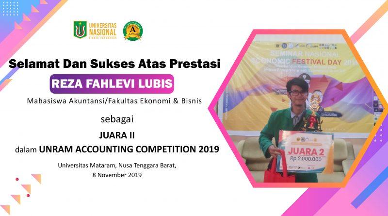Prestasi Mahasiswa Reza Fahlevi Lubis Mahasiswa Akuntansi/Fakultas Ekonomi & Bisnis dalam UNRAM ACCOUNTING COMPETITION 2019