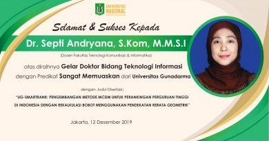 Dosen FTKI UNAS Berhasil Raih Gelar Doktor Bidang Teknologi Informasi