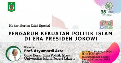 """Kajian Series Edisi Spesial """"Pengaruh Kekuatan Politik Islam di Era Presiden Jokowi"""""""