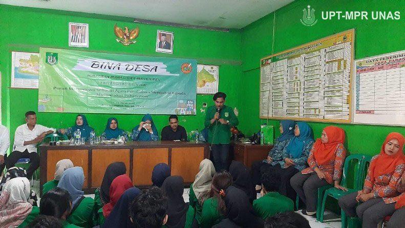 kegiatan bina desa Himpunan Mahasiswa Manajemen Unas mengenai Peran Mahasiswa Sebagai Agen Perubahan Mengabdi Kepada Masyarakat Pebangbon