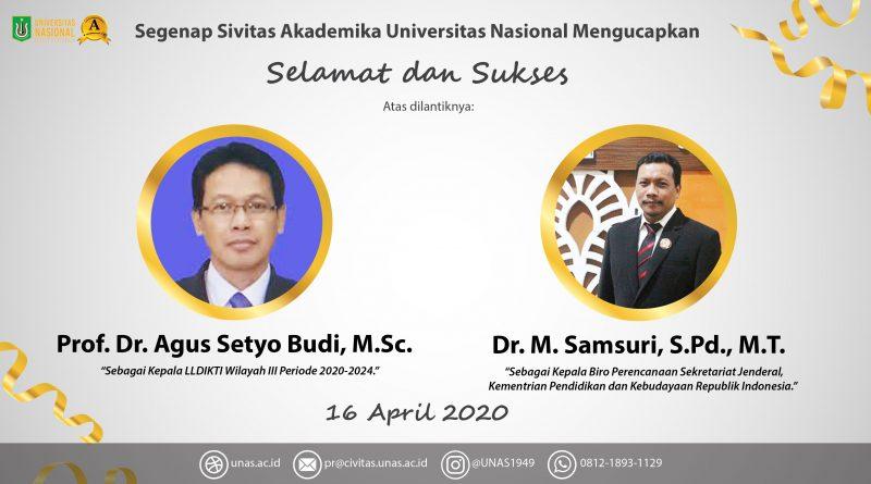 Selamat Dan Sukses untuk Prof. Dr. Agus Setyo Budi, M.Sc. dan Dr. M. Samsuri, S.Pd., M.T.