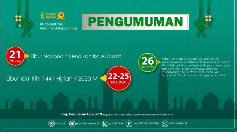 Pengumuman Libur Idul Fitri 1441 Hijriah / 2020 M