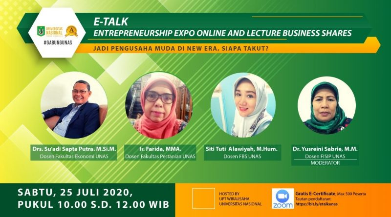 E-TALK ENTREPRENEURSHIP EXPO ONLINE AND LECTURE BUSINESS SHARES