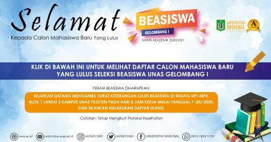 Pengumuman Beasiswa CAMABA UNAS Gelombang I T.A. 2020/2021