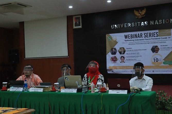 "Webinar Series Prodi Sosiologi ""Rethinking Indonesia Pasca Pandemi Covid-19"" Diskusi 1 : Manakar Kekuatan Indonesia Dalam Survivalitas Sosial Ekonomi Era Covid-19, di Auditorium Blok 1 Lantai 4 Unas, Rabu, 10 Juni 2020"