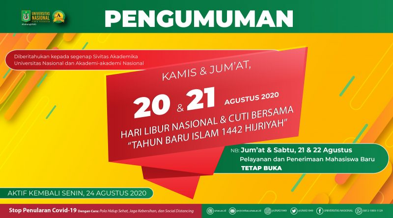 "HARI LIBUR NASIONAL & CUTI BERSAMA ""TAHUN BARU ISLAM 1442 HIJRIYAH"""