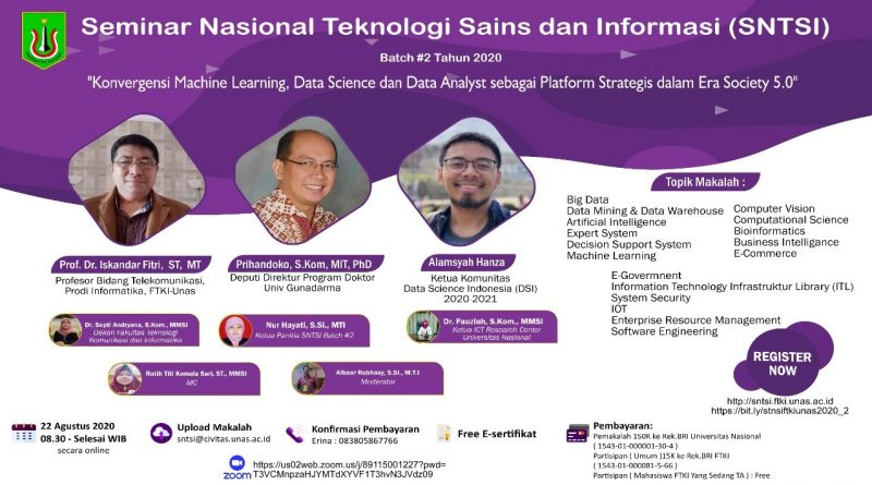 Seminar Nasional Teknologi Sains dan Informasi (SNTSI) Batch #2 Tahun 2020