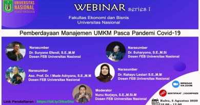 "WEBINAR SERIES 1 FEB UNAS ""Pemberdayaan Manajemen UMKM Pasca Pandemi Covid-19"""