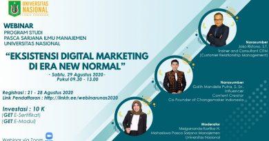 Webinar Program Studi Pasca Sarjana Ilmu Manajemen UNAS Eksistensi Digital Marketing Di Era New Normal