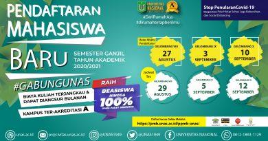 Pendaftaran Mahasiswa Baru UNAS Gelombang 8-10 Semester Ganjil T.A. 2020/2021