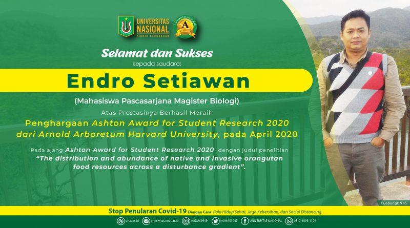 Prestasi Mahasiswa Magister Biologi UNAS, Raih Penghargaan Ashton Award for Student Research 2020
