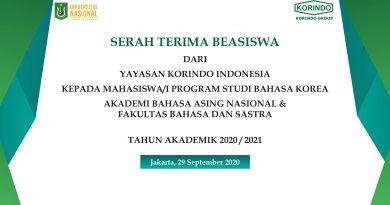 Serah Terima Beasiswa dari Yayasan Korindo Indonesia Kepada Mahasiswa UNAS