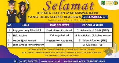 Pengumuman Beasiswa Calon Mahasiswa Baru UNAS Semester Ganjil T.A. 2019/2020 Gelombang I