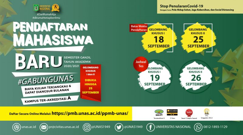 web banner Pendaftaran Khusus Mahasiswa Baru UNAS Smstr Ganjil 2020_2021_GEL1-2