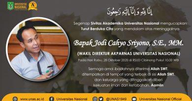 Turut Berduka Cita yang mendalam atas meninggalnyaBapak Jodi Cahyo Sriyono, S.E., MM.(Wakil Direktur AKPARNAS Universitas Nasional)