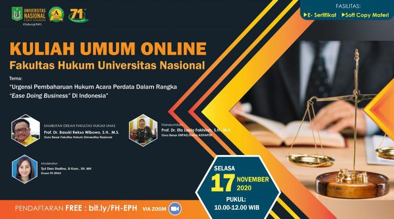 Kuliah Umum FH UNAS 17 nov 2020
