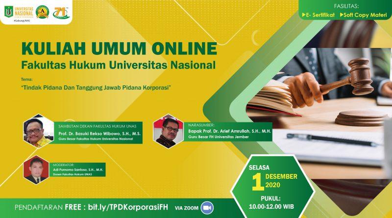 Kuliah Umum FH UNAS 1 Desember 2020