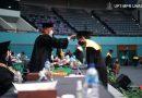 Pelantikan Wisudawati oleh Rektor Universitas Nasional, Dr. El Amry Bermawi Putera, M.A. dalam Wisuda Pascasarjana, Sarjana, Profesi, Diploma Universitas Nasional, dan akademi-akademi Nasional periode I tahun akademik 2019/2020 di Jakarta Convention Center (JCC), Senayan pada Sabtu, 28 November 2020