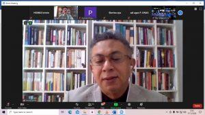 Dr. Abdul Malik Gizmar saat menjadi narasumber dalam webinar seminar nasional pada kamis 17 Desember 2020