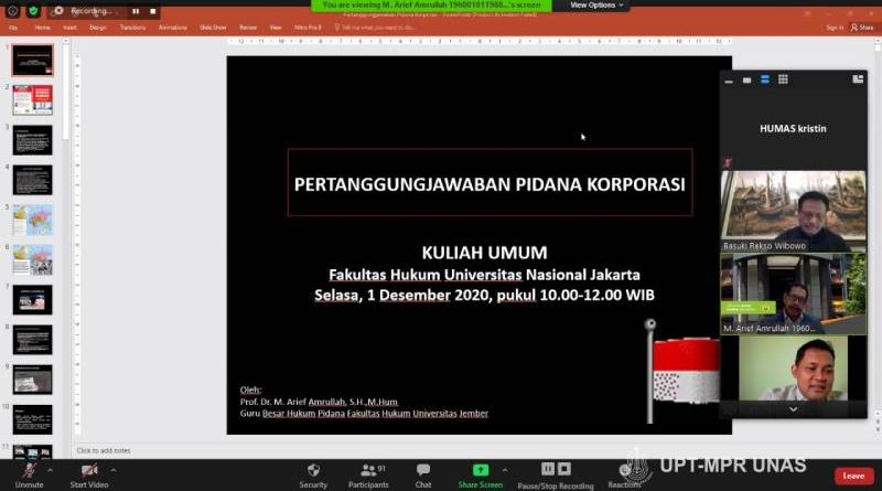 "Kuliah umum Fakultas Hukum ""Tindak Pidana dan Tanggung Jawab Pidana Korporasi"" pada Selasa (1/12) melalui zoom cloud meeting"