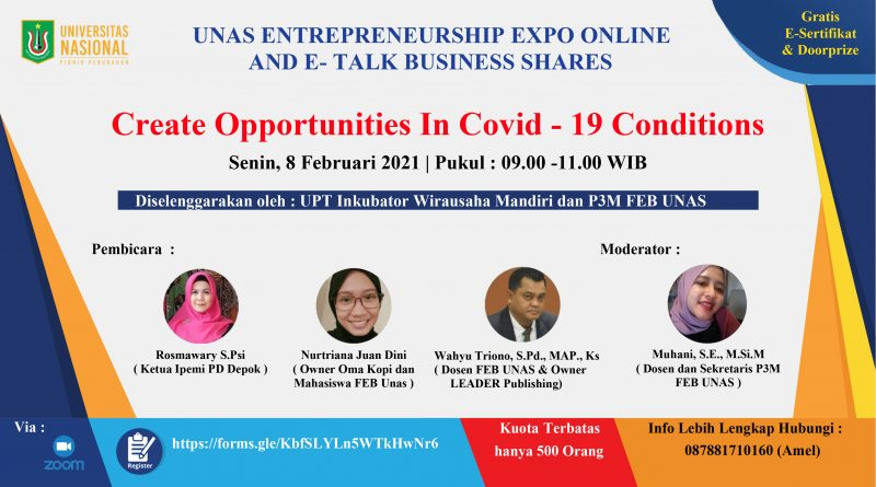 UNAS ENTREPRENEURSHIP EXPO ONLINE AND E-TALK BUSINESS SHARES