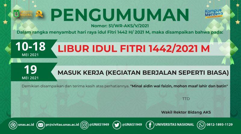 PENGUMUMAN LIBUR IDUL FITRI 1442/2021 M
