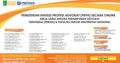 Pendidikan Khusus Profesi Advokat (PKPA) Secara Online Fakultas Hukum Universitas Nasional Kerja Sama dengan Perhimpunan Advokat Indonesia (PERADI)