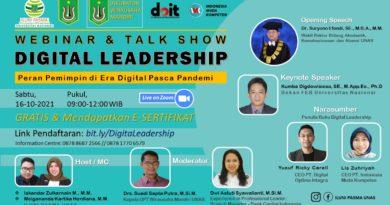 "Webinar dan Talk Show Digital Leadership 'Peranan Pimpinan di Era Digital Pasca Pandemi"""